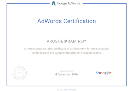 Google adwords certification by student of 7boats academy