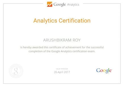 Google analytics certification by student of Seven Boats Academy