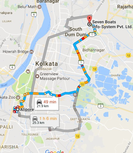 Alipore Kolkata West Bengal to Seven Boats Info System Pvt. Ltd. Google Maps