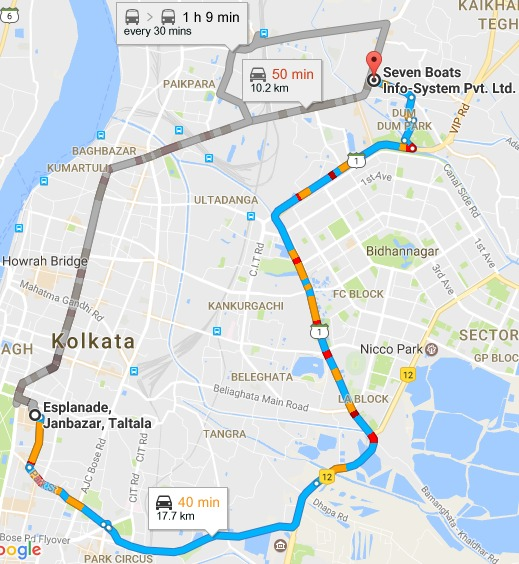 Esplanade Kolkata West Bengal to Seven Boats Info System Pvt. Ltd. Google Maps