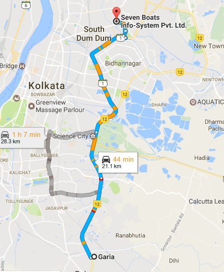Garia Kolkata West Bengal to Seven Boats Info System Pvt. Ltd. Google Maps