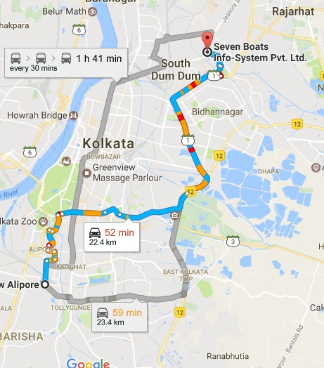 New Alipore Kolkata West Bengal to Seven Boats Info System Pvt. Ltd. Google Maps