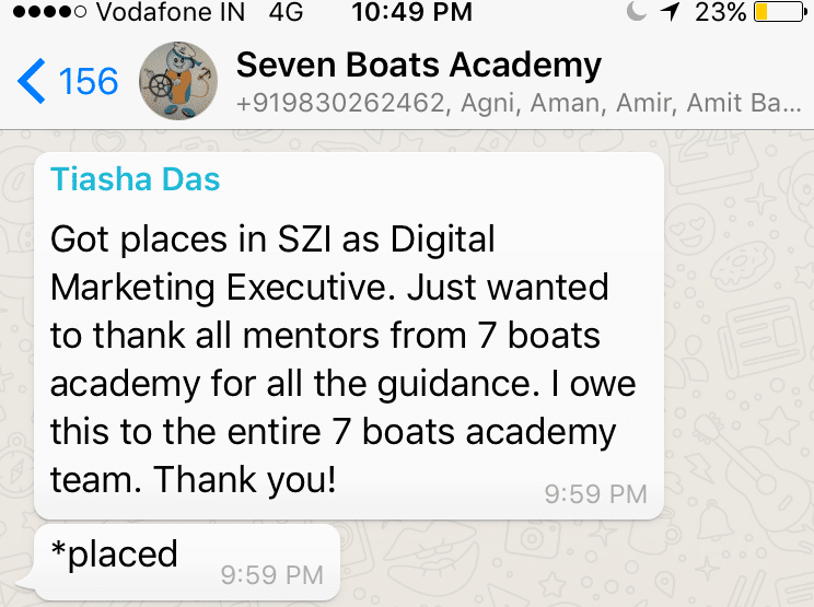 100% placement assistance at Seven Boats Academy Digital Media Marketing Institute