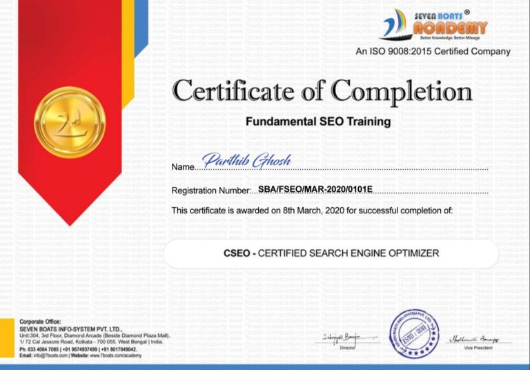 Free SEO certification course certificate from Seven Boats Academy