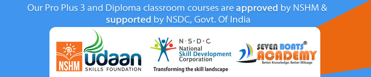 Seven Boats Academy Pro Plus 3, 6 months diploma and 1 year advanced diploma courses on digital marketing are approved by NSHM udaan skills Foundation, supported by NSDC, Govt of India