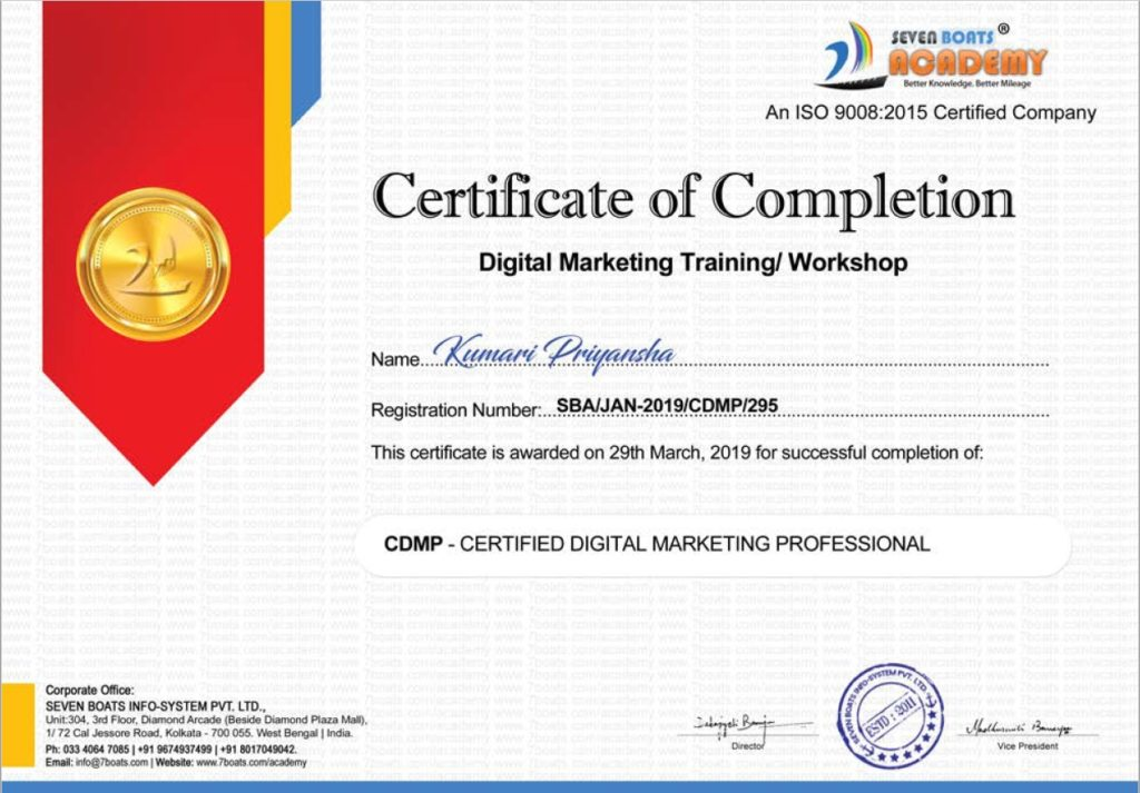 digital marketing certificate - seven boats