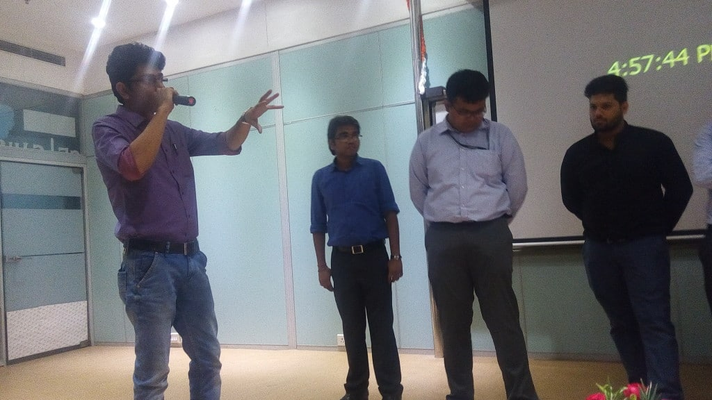 Debajyoti Banerjee interacting with students at UWSB