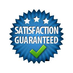 Satisfaction Guaranteed - Burst Badge Blue