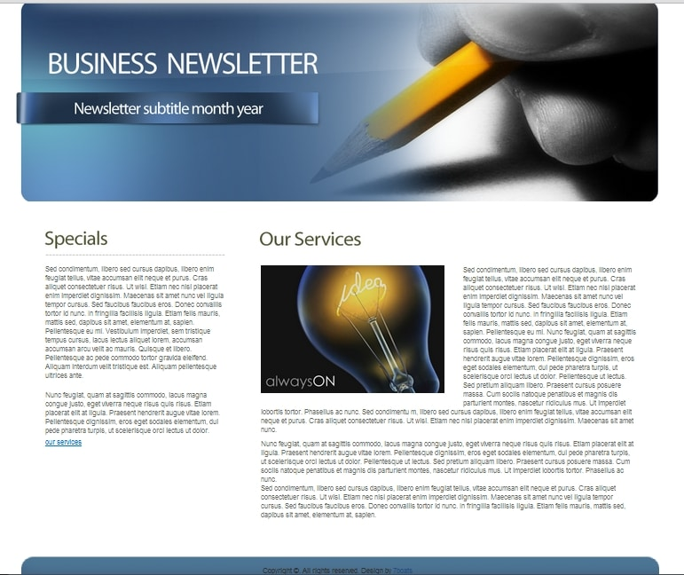 Download free html business newsletter template 7boats for Newsletter layout templates free download