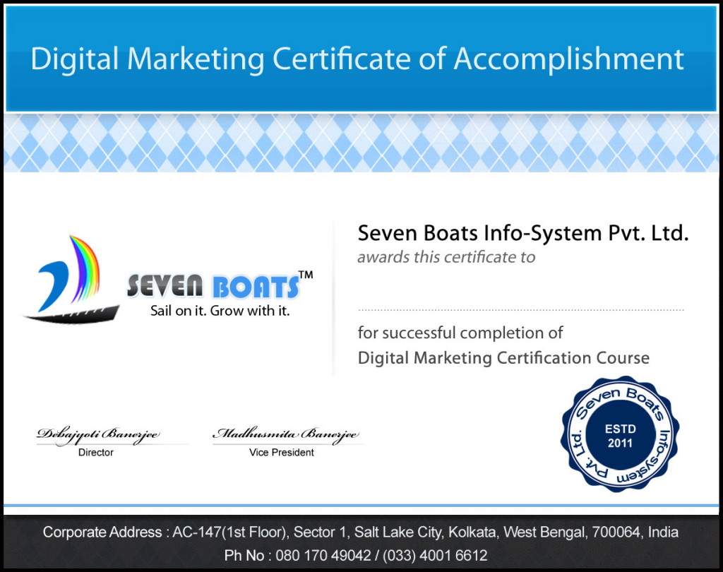 Digital marketing certificate issued by Seven Boats Info-System