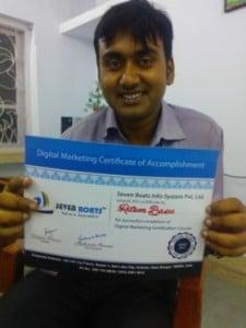Student smiling after digital marketing course completion