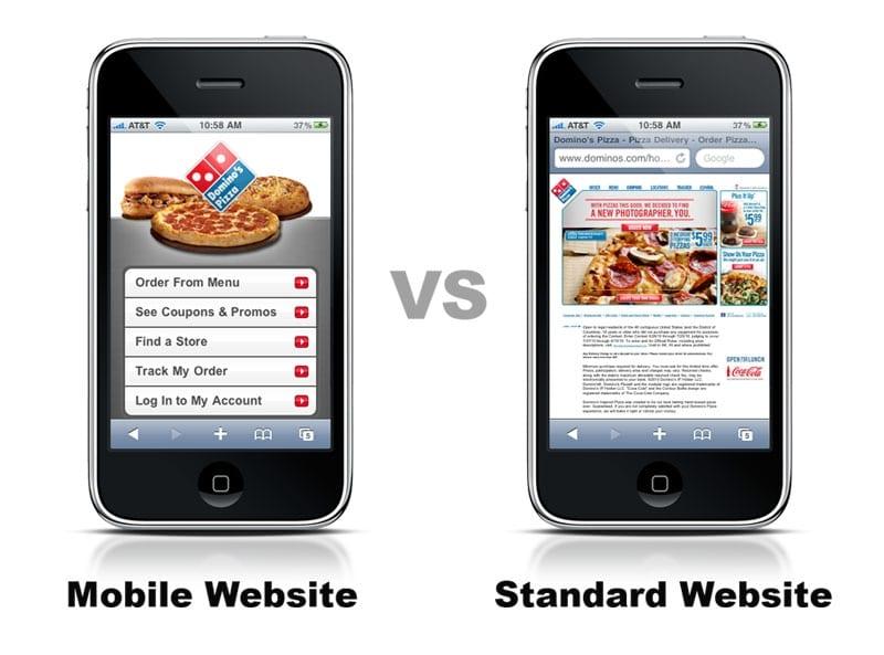 Standard website vs mobile website